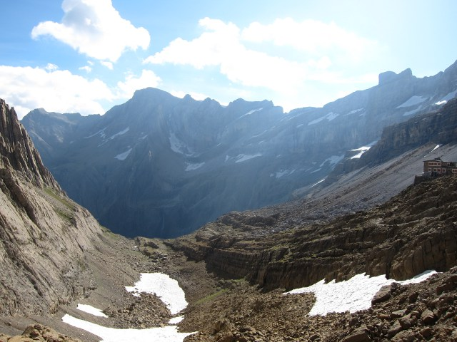 Breche de Roland: East from Sarradets ridge across top of Cirque de G -that waterfall - © William Mackesy