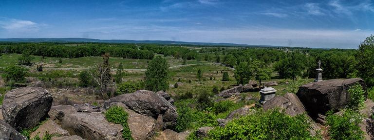 USA Eastern, Gettysburg, Panoramic View of Gettysburg Battlefield From Little Round Top, Walkopedia