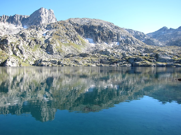French Pyrenees: Neouvielle tower at left behind Lac Bleu - © William Mackesy