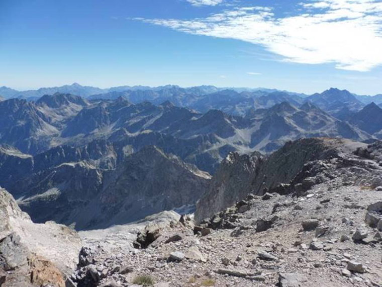 View from the summit of Balaitous looking towards Pic de Midi (left) and Vignemale (right) - ©  Rupert de Borchgrave