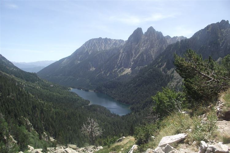The twin peaks of Els Encantats and Sant Maurici lake - © Paul Taylor