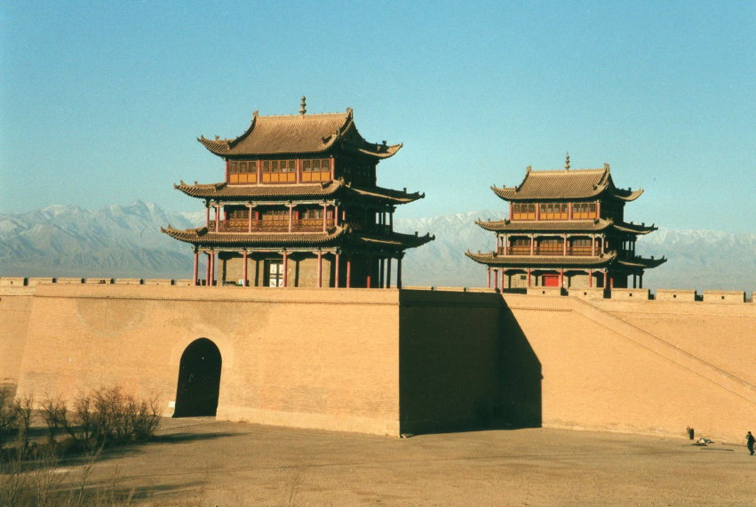 Fort at Jiayuguan, Tibet behind - © William Mackesy