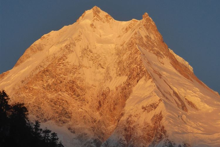 Manaslu Circuit: Manaslu at sunrise from Lho - © Dick Everard