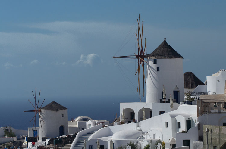 Caldera Rim, Santorini: Santorini Windmills - © By Flickr user country_boy_shane