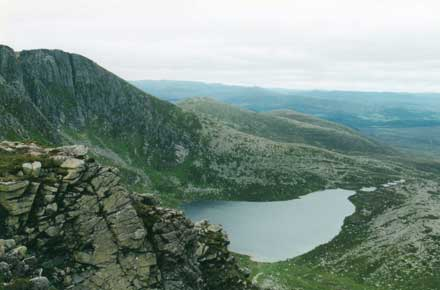Lochnagar - down onto the corrie loch - © William Mackesy