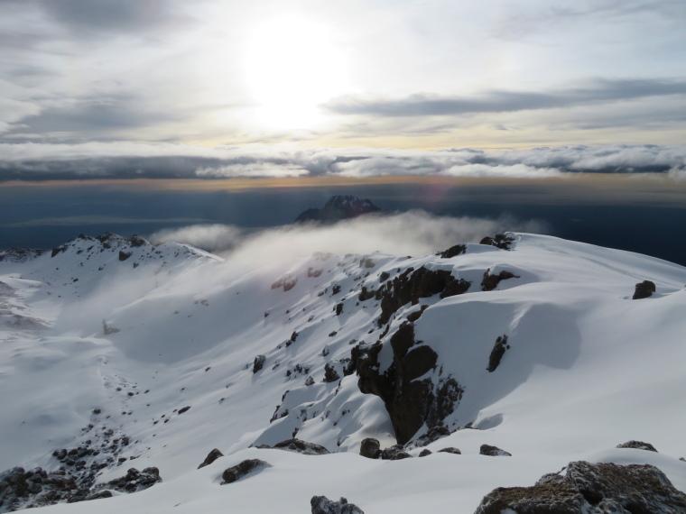 Tanzania Mount Kilimanjaro, Climbing Kilimanjaro Summit, Gilman, Stella ridge from summit ridge, Walkopedia