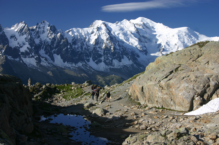 Aiguilles Rouges: Mt Blanc From Lac Blanc, early light - © William Mackesy