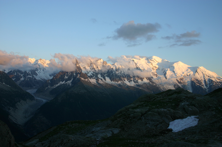 Aiguilles Rouges: Mt Blanc From Lac Blanc, sunset - © William Mackesy