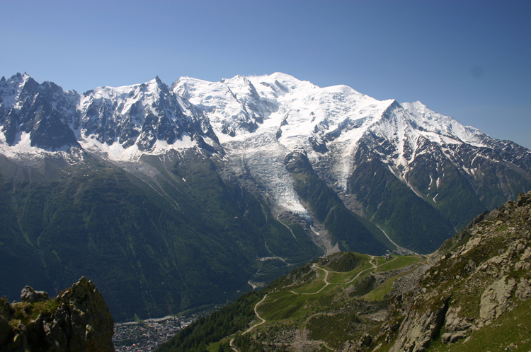Mt Blanc From Aiguilles Rouges, across Chamonix - © William Mackesy