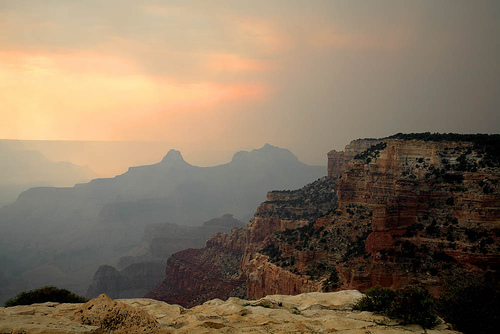 Grand Canyon Cape Royal, North Rim, during a forest fire. - © Flickr user Mandj98