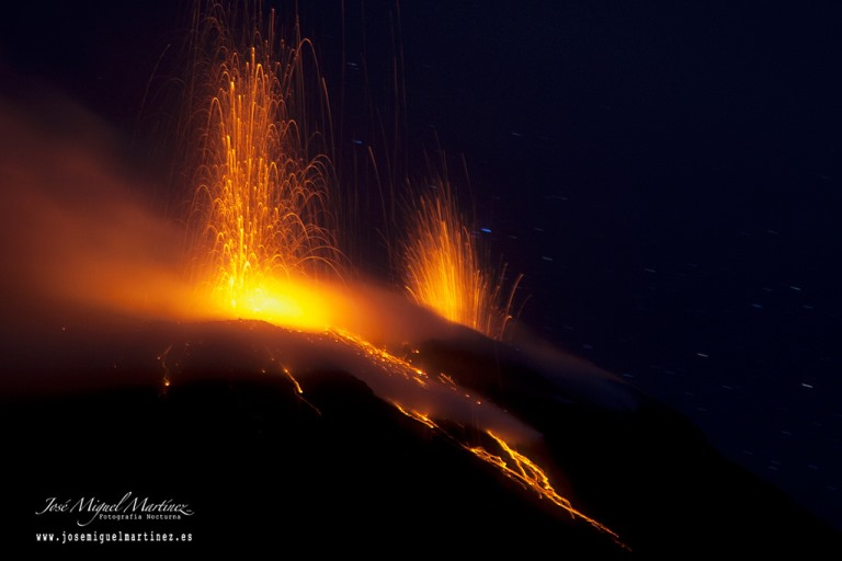 Nighttime eruptions of Stromboli  - © flickr user- Jose Miguel