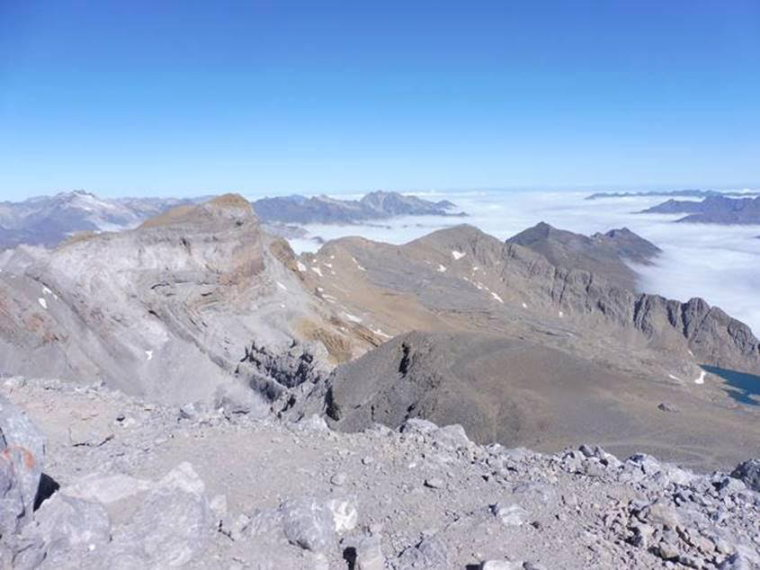 France Pyrenees, Vignemale and Vallee de Gaube, View from the summit of Mont Perdu, Vignemale to the left and Tucaroya pass far right, Walkopedia