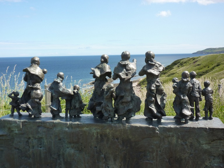 Southern Uplands Way: Eyemouth disaster memorial at cove  - © flickr user Andrew Bowden