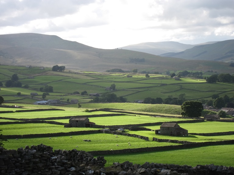 Wensleydale: West along Wensleydale from Wether Fell, evening light - © William Mackesy