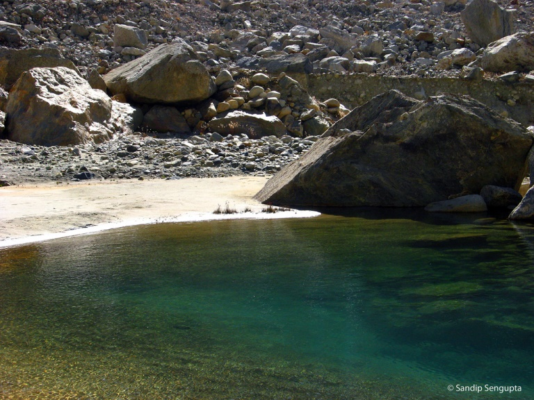 Source of the Ganges and Above: A glacier pool with full of colors..  - ©Sandip Sengupta flickr user