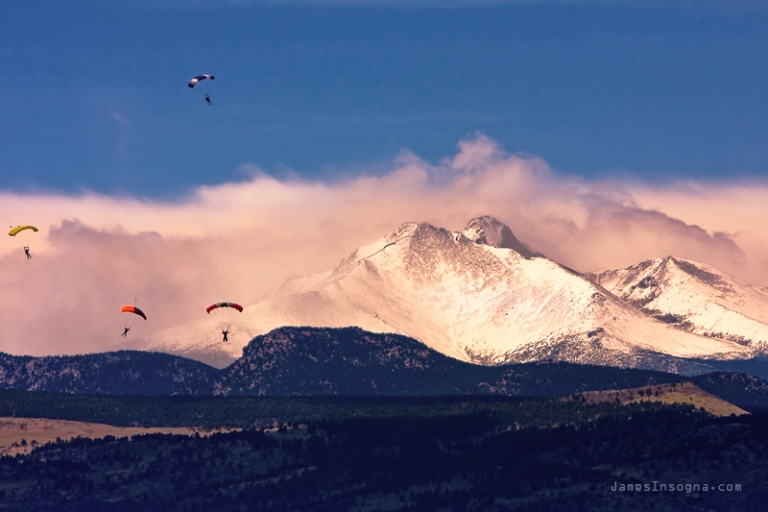 Four Skydivers With Longs Peak and Mount Meeker Rocky Mountain High  - © TheLightningMan.com flickr user