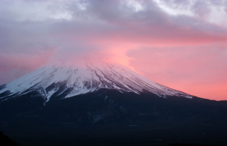 Japan Tokyo Region, Fuji-san (Mount Fuji) Area, Mount. Fuji in rose pink , Walkopedia