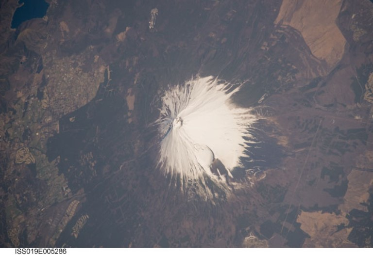 "Fuji-san (Mount Fuji) Area: Mount Fuji NASA International Space Station Science  - © NASA""s Marshall Space Flight Center flickr user"