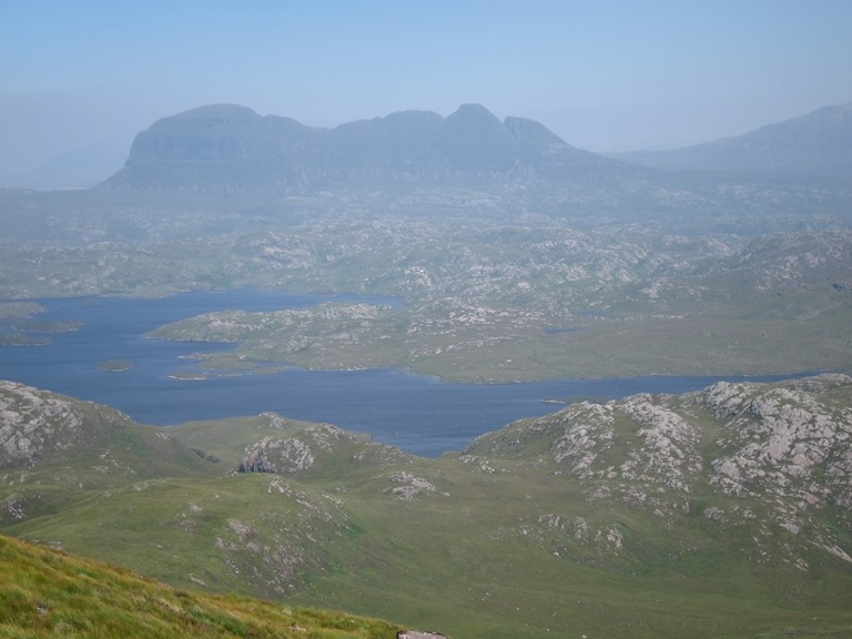 United Kingdom Scotland NW Highlands Assynt, Suilven, Suilven from Stac Pollaidh, hazy day, Walkopedia