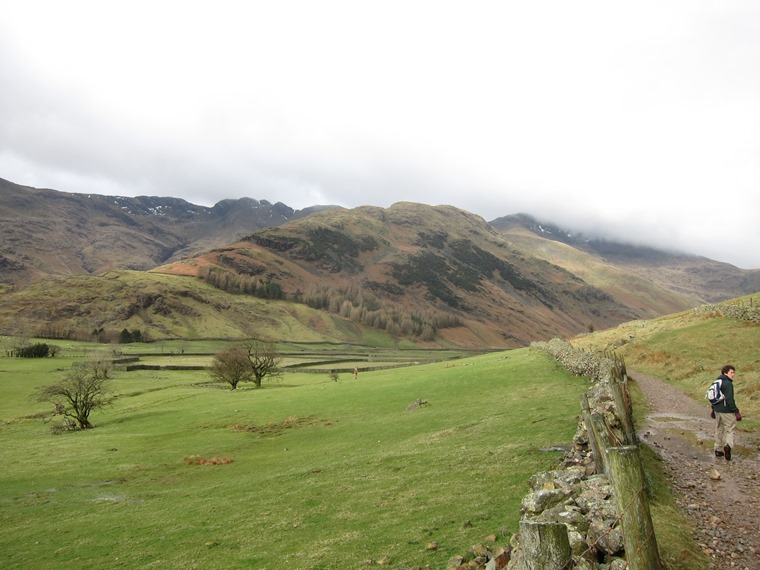 Langdale Valleys: Great Langdale valley, March, Bow Fell in cloud - © William Mackesy