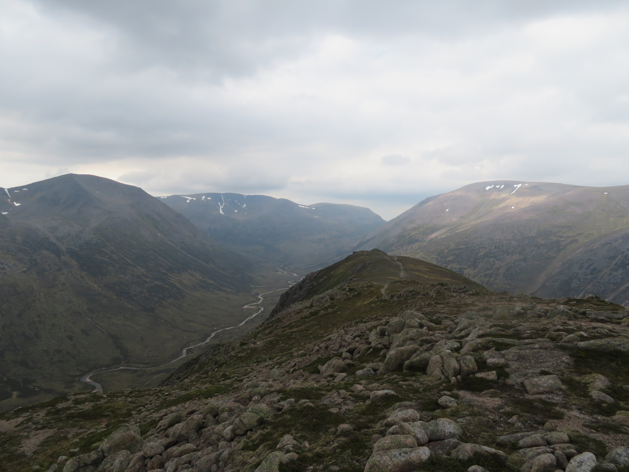 Upper Dee Valley: Cairn Toul, Braeriach, Bern Macdui and  upper Dee towards Lairig Ghru,  from Carn A Mhaim - © William Mackesy
