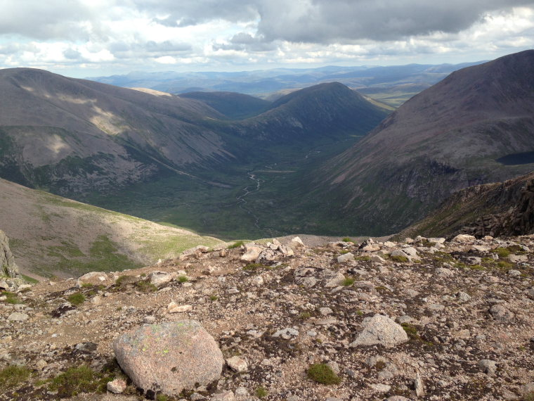 Looking south down upper Dee from Ben Macdui, Lairig Ghru to right  - © Flickr andrewrendell