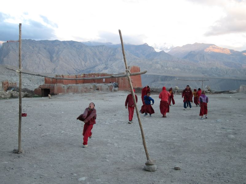 Boy monk footballers, Tsarang - © William Mackesy