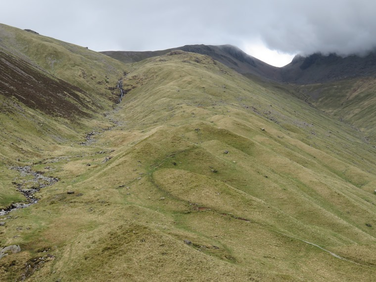 Coast to Coast, Lake District: Tongue at Ennerdale head, Great Gable in cloud to right - © William Mackesy