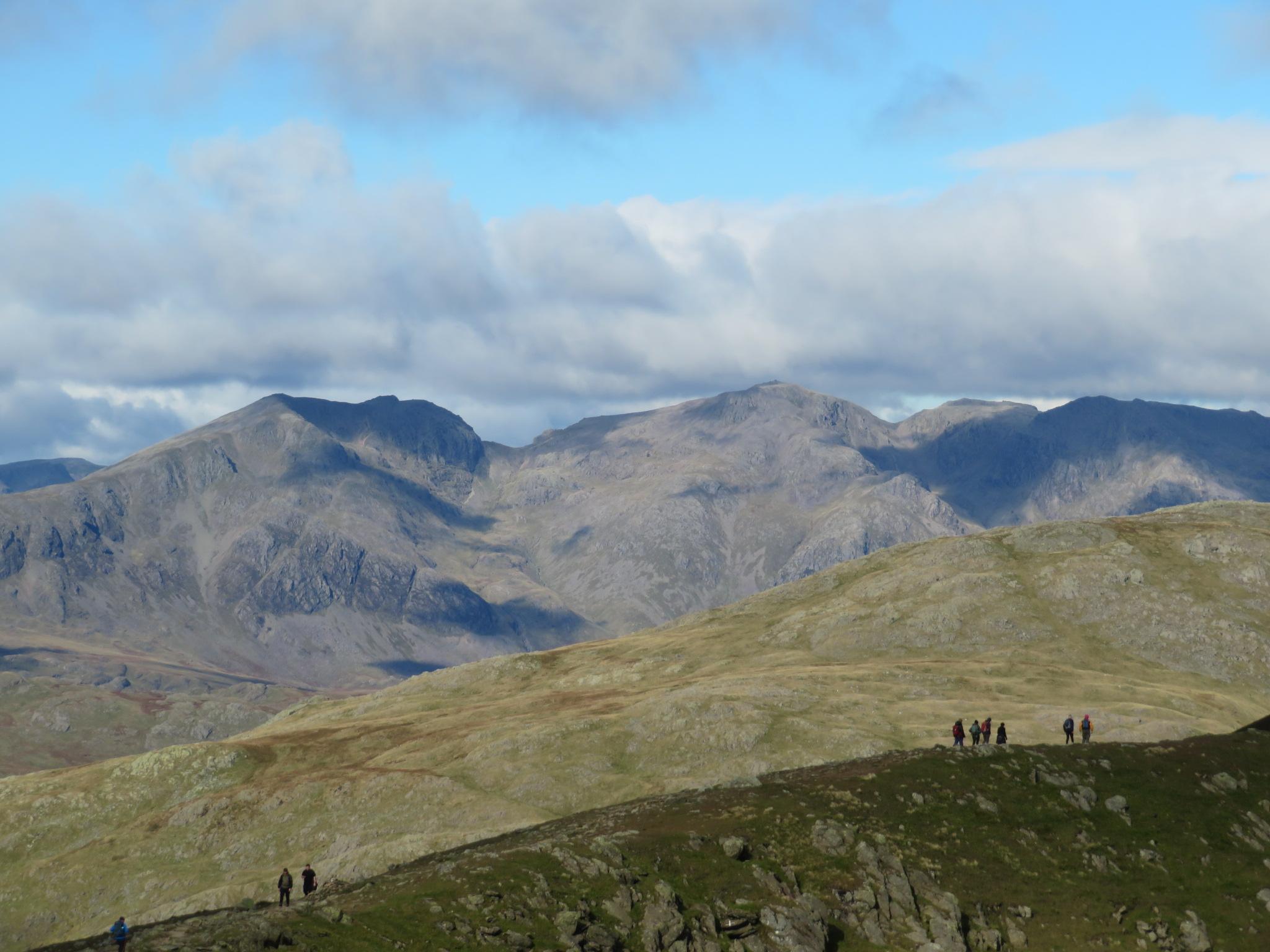 United Kingdom England Lake District, Swirl How and Great Carrs, Old Man summit ridge, Scafells behind, Walkopedia