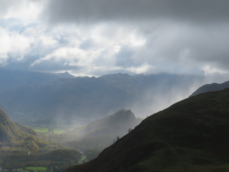 Cumbria Way and High Way: End of rainstorm, Borrowdale, from above Catbells - © William Mackesy