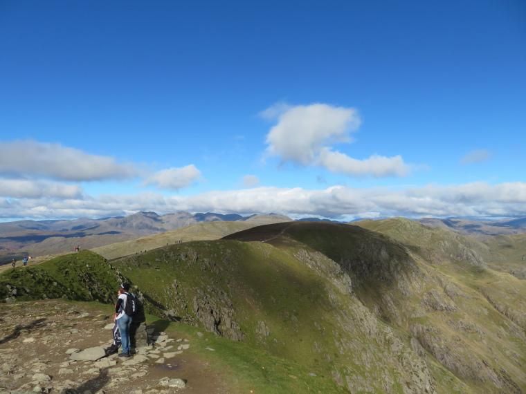 United Kingdom England Lake District, Cumbria Way and High Way, Wonderful ridge north of Old Man, Scafells behind, Walkopedia