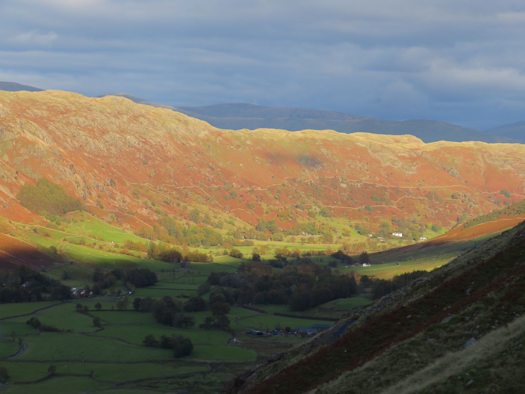 United Kingdom England Lake District, The Old Man of Coniston, Gt L valley from Pike of Blisco flank, October light, Walkopedia