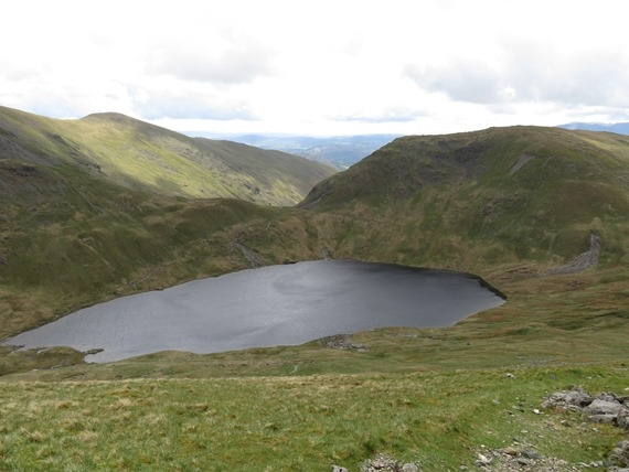 Helvellyn and Striding Edge: Hause Gap and Grisedale Tarn from Dollywaggon - © William Mackesy