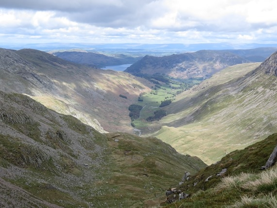 Helvellyn and Striding Edge: Patterdale from Dollywaggon Pike - © William Mackesy