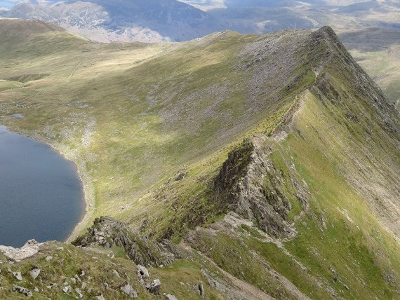 Helvellyn and Striding Edge: Striding Edge from above - © William Mackesy