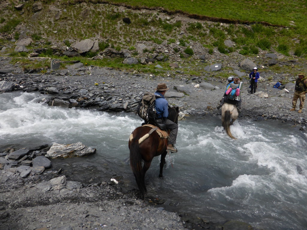 Georgia Gt Caucasus Tusheti and Khevsureti, Atsunta Pass (Tusheti to Khevsureti), Crossing the river on Border Patrol horses, Walkopedia