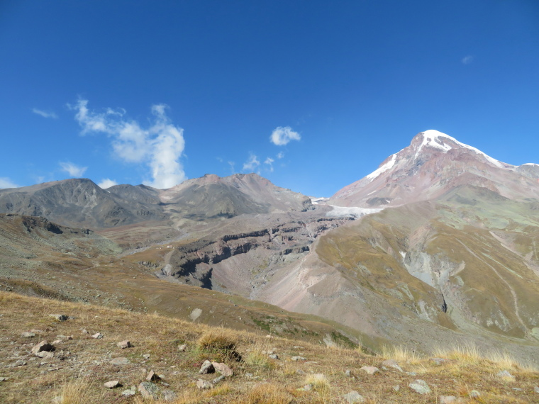Greater Caucasus Mountains: Gergeti - Mt Kazbek, gorge, glacier