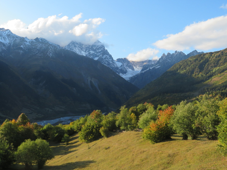 Greater Caucasus Mountains: Head of Mestia valley, evening light