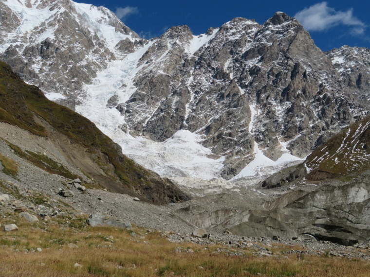 Greater Caucasus Mountains: Shkhara glacier, white to dirty