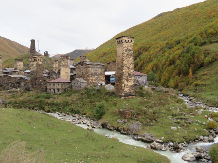 Greater Caucasus Mountains: Ushguli, middle hamlet, river junction