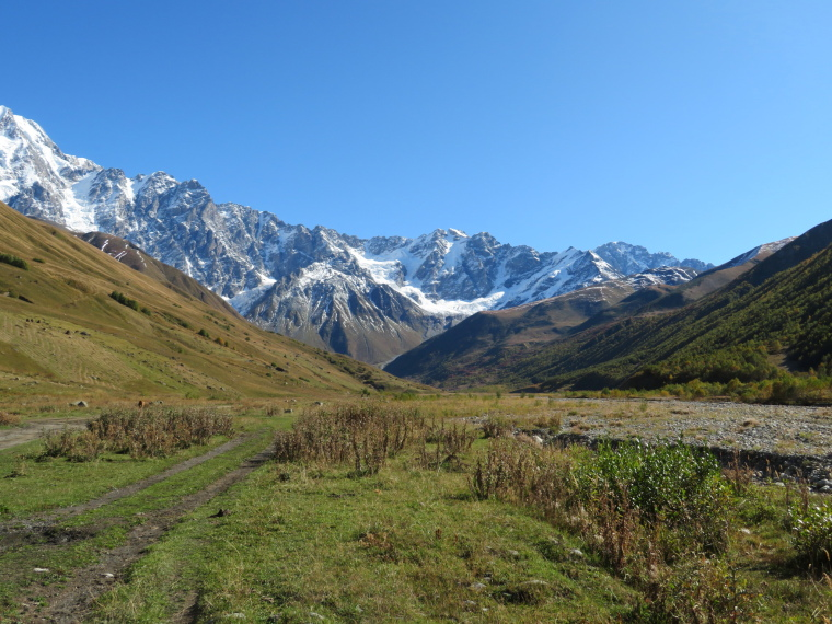 Greater Caucasus Mountains: Wide upper Engeri valley