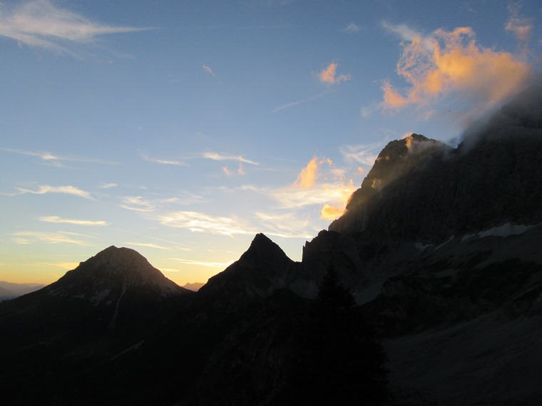 The Dachstein: Rottelstein, Raucheck and Tor pass, sunset - © William Mackesy