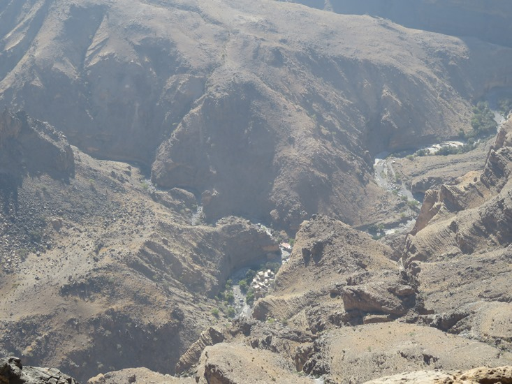 Down into Wadi Nakhur from the balcony - © William Mackesy