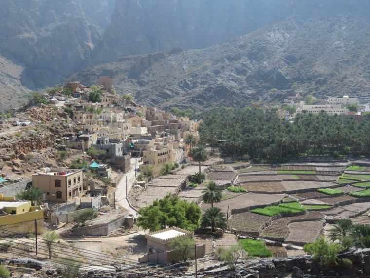 Central Akhdar routes W8, W9, W10: Balad Saytfields, high Akhdar behind - © William Mackesy
