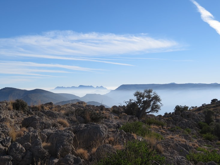 Oman Western Hajar Mts: Jebel Akhdar, Qiyut to Ar Roos Traverse , Eastward from above Qiyut, early morning, Walkopedia