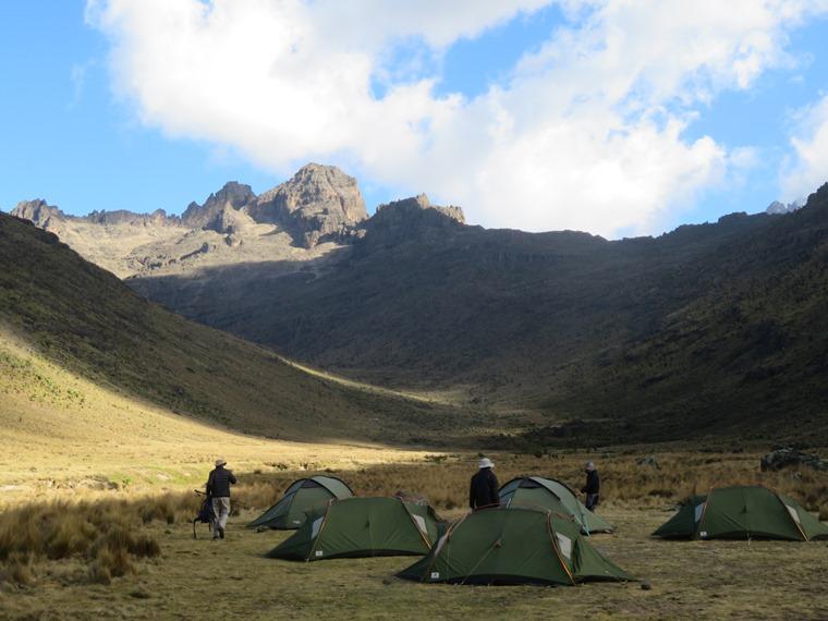 Mount Kenya: Liki valley campsite, late light - © William Mackesy