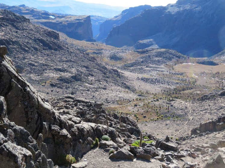Mount Kenya: Chogoria, down toward Temple flats and top of gorges velley - © William Mackesy