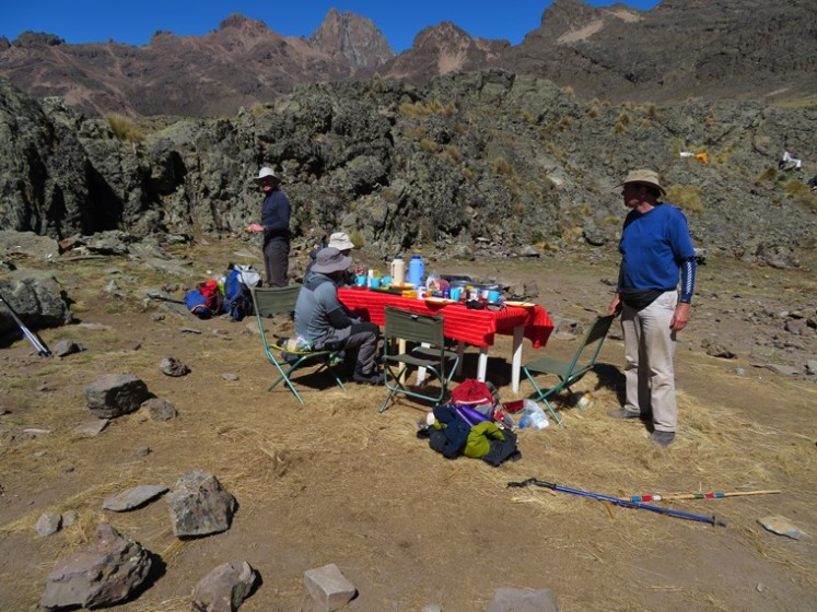 "Mount Kenya: Chogoria, breakfast, Minto""s camp - © William Mackesy"