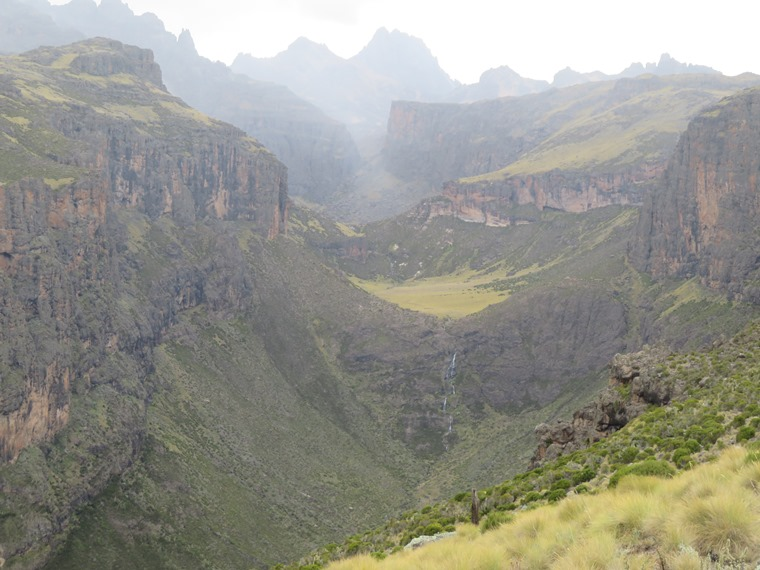 Chogoria,classic view up Gorges valley, misty moment - © William Mackesy