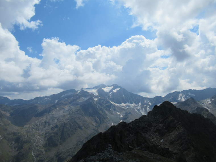 South along high Mairspitze ridge, Wilder Freiger behind - © William Mackesy